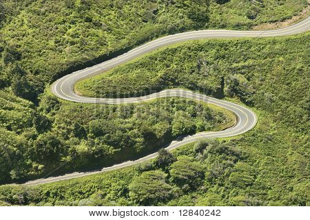 Aerial of winding country road Shoreline Highway in California, USA.