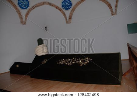 ANKARA/TURKEY-JULY 17, 2014: Dervish Taptuk Emre's tomb at the Emrem Sultan Village of Nallihan. July 17, 2014-Ankara/Turkey