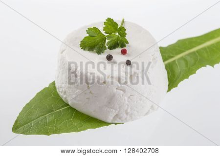goat cheese on white background with fresh herbs