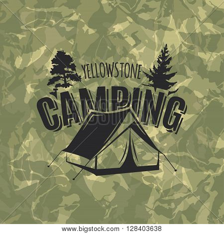Vintage camping and outdoor adventure logo on camouflage green background. Tent in forest. Camping equipment. Vector.