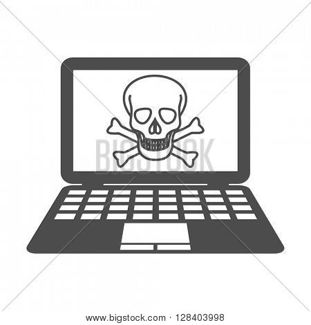 piracy symbol skull computer vector icon