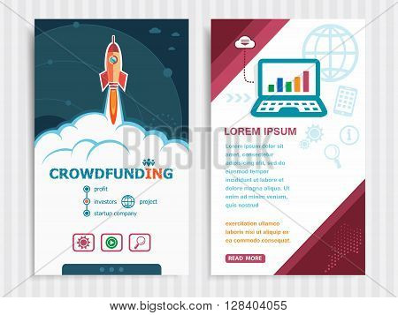Project Crowdfunding Concepts And Set Of Banners.