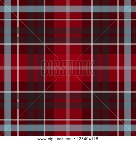 Vector seamless scottish tartan pattern in red blue black. British or irish celtic dark design for textile fabric or for wrapping backgrounds websites