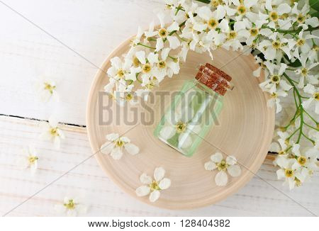 Bottle of flower aroma water, orchard spring blossom twigs. Herbal cosmetic