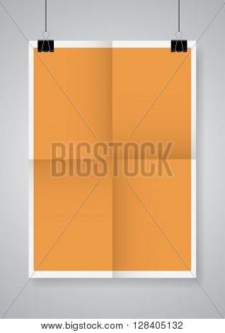 Twice a folded orange poster with clamps. Vector illustration.