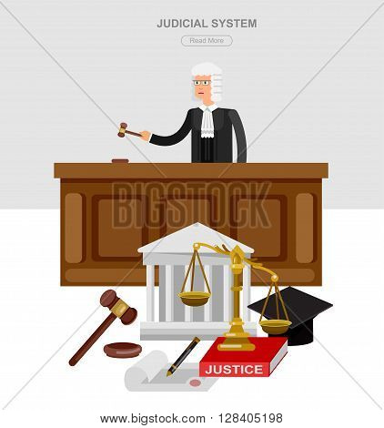 Law horizontal banner set with judical system elements and Vector detailed character the judge and the lawyer, cool flat  illustration isolated vector