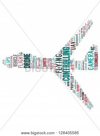 Drone Flying, Word Cloud Concept 4
