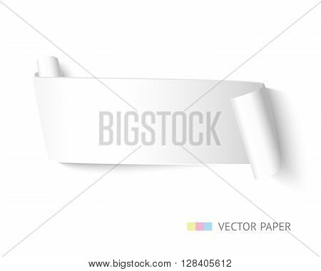 White curved ribbon paper banner with paper roll isolated on white background. Realistic vector paper template for web banners and advertising