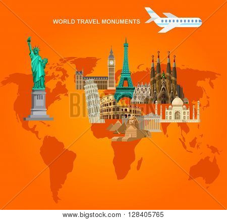High quality, detailed most famous World landmarks Statue of Liberty, Taj Mahal, Eiffel Tower, Leaning Tower, Big Ben, Parthenon, Egyptian Sphinx and Pyramids, Colosseum, Cathedral Sagrada Familia