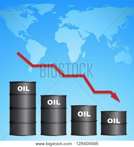 Decreasing Price of Oil With World Map Background Credit Map by NASA