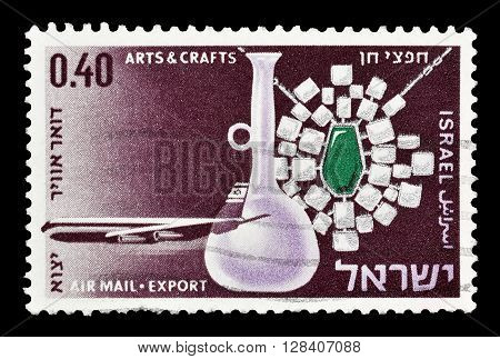 ISRAEL - CIRCA 1968 : Cancelled postage stamp printed by Israel, that shows Arts and crafts.