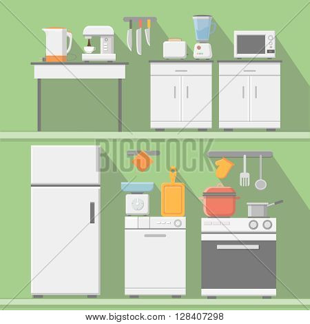 Flat kitchen with cooking tools, equipment and furniture. Refrigerator and microwave, toaster and cooker, blender illustration