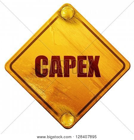 capex, 3D rendering, isolated grunge yellow road sign