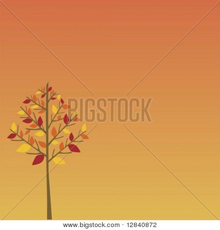 Simple fall tree with red, orange and yellow leaves on orange gradient background.