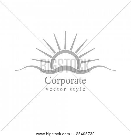 Grey schematic logo. Sun and sea wave. Vector design