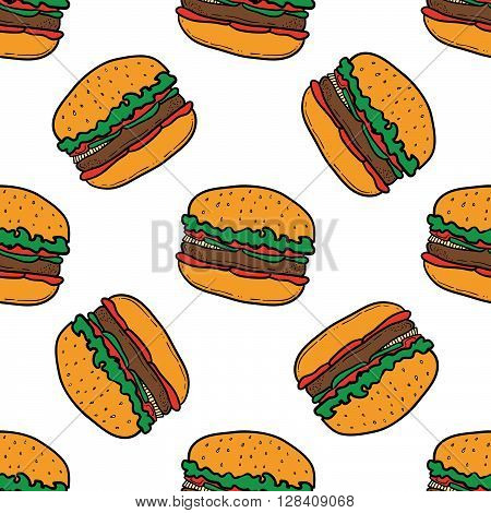 Burger pattern on white background. Seamless pattern with burgers on white background. Vector hand-drawn illustration for banners menus and print.