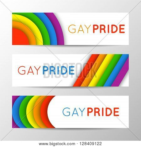 Set of modern colorful horizontal banners for Pride Month. Vector illustration in LGBT colors. Gay culture symbol rainbow text. Gay Pride. Can be used in a web design.
