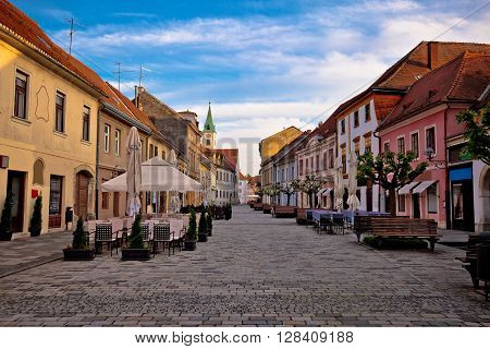 Baroque town of Varazdin street view northern Croatia