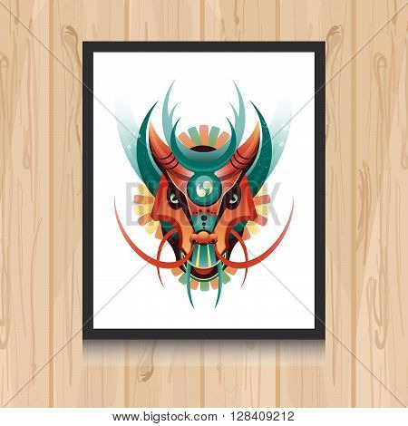 Geometric vector dragon concept on wooden background. Vector illustration for t-shirt print tatto web and mobile.