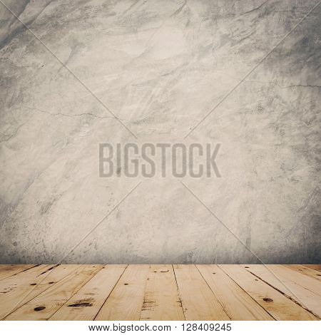 Grunge Cement Wall And Wood Floor Background And Texture With Space.