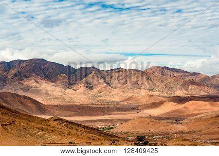 A small village in the Anti-Atlas mountains near Taliouinein Morocco.