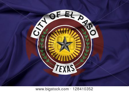 Waving Flag of El Paso Texas, with beautiful satin background.
