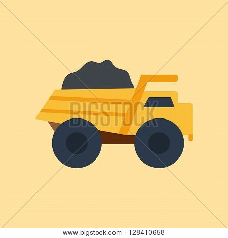 Vector illustration with isolated industrial truck on white background. Mining industry concept. Vector truck with coal. Pattern for cartoon toy design. Industrial mining technology. Mining transport