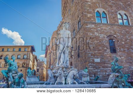 Main square with historic Fountain of Neptune in Florence, Italy.