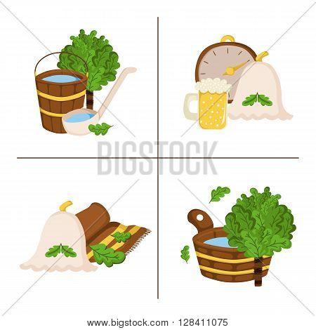 Vector sauna concept in cartoon style. Spa relax illustration. Bodycare and healthcare design. Sauna cartoon vector icons. Sauna broom hat beer bath towel sauna thermometer wooden bucket