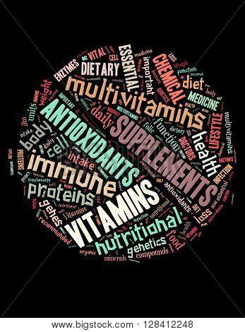 Vitamins Pill, Word Cloud Concept 3