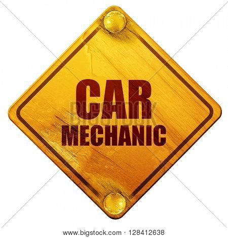 car mechanic, 3D rendering, isolated grunge yellow road sign