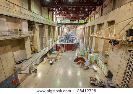 Boulder City, Nevada - September 11, 2015: Hoover Dam Interior With Generators. It Is A Concrete Arc