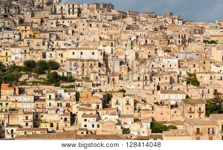Houses packed in the old town of Modica in Sicily
