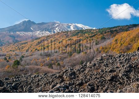 The north-eastern flank of volcano Etna during late autumn