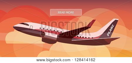 Logistic routes airplane banner. Logistics plane banner for industry web and print. Flat style vector illustration of an aircraft.