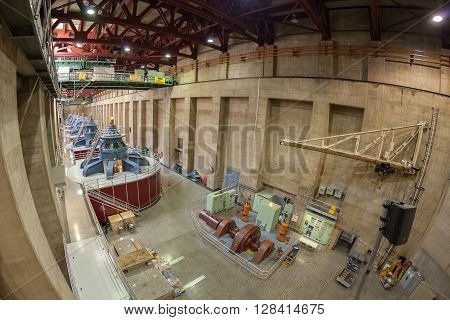 Boulder City, Nevada - September 11, 2015: Fisheye Lens Picture Of Hoover Dam Interior With Generato