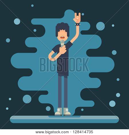 Singer performer soloist Hard Rock Heavy Folk Music Background Concept Flat Design Vector Illustration