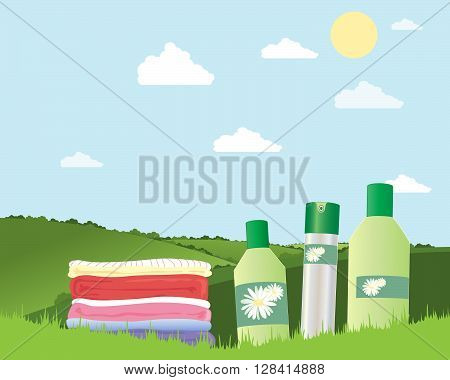 an illustration of a pile of fresh laundry with cleaning products on green grass in summer