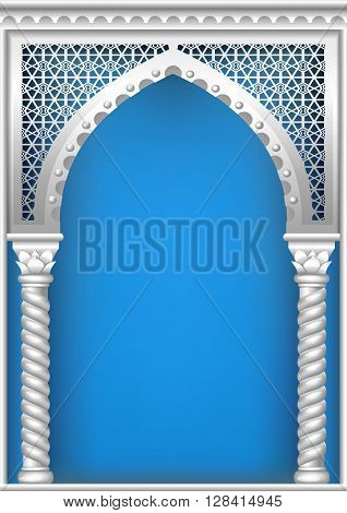 Arch of silver in the oriental style with Arabic traditional ornaments