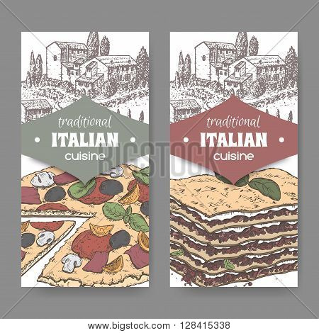 Set of 2 traditional Italian cuisine labels with Tuscan landscape, color pizza and lasagna on white. Great for pizzeria, bakery and restaurant, cafe ads, brochures, labels.