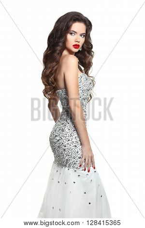 Beauty Bride Woman In Wedding Dress. Long Hair, Makeup. Brunette Posing In Shiny Beaded Sequins Merm
