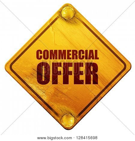 commercial offer, 3D rendering, isolated grunge yellow road sign
