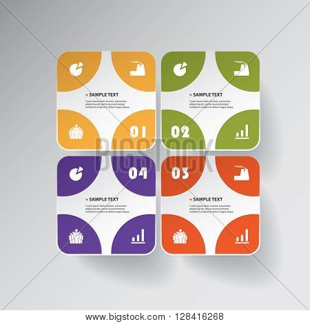 Colorful Minimal Paper Cut Infographics Design - Rounded Squares