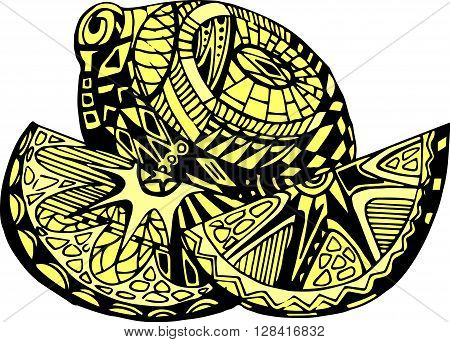 Vintage decorative ornamental lemon. Vector abstract illustration logo icon fruit design element with ornamental patterns in black-yellow