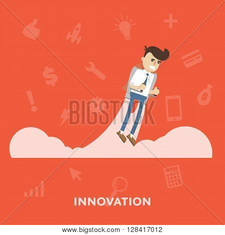 Businessman takes off on jetpacks business concept innovation flat abstract isolated vector illustration