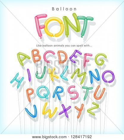 vector alphabet letters shaped from skinny balloons