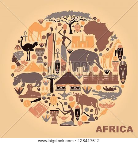 Traditional symbols of Africa in the form of a circle