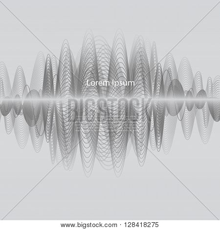 Vector Frequence background. Grey ferquense and wave