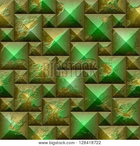 Abstract seamless 3d mosaic pattern of gold and green beveled pyramidal blocks