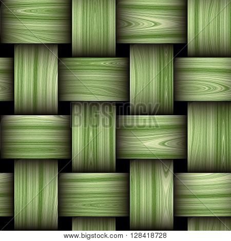 Seamless wooden green and white pattern resembling a wicker basket texture